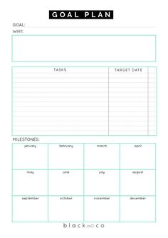 A planner to help you make your goal plan. As simple as possible. Make your plan, work on it consistently and you will be Printable Goal Sheets to Help You Stay on Track This Year Goals Template, Business Plan Template, Planner Template, Goals Planner, Planner Pages, Life Planner, Weekly Planner, College Planner, College Tips