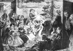 An poster sized print, approx (other products available) - A Victorian family gather around a Christmas tree. Date: 1858 - Image supplied by Mary Evans Prints Online - Poster printed in the USA New Orleans Christmas, Old Christmas, Victorian Christmas, A Christmas Story, Vintage Christmas, Favorite Holiday, Holiday Fun, Festive, Victorian Games