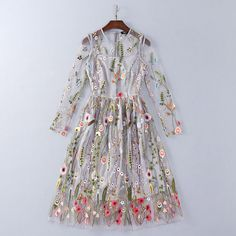 Cheap vestido de festa, Buy Quality runway dress directly from China brand runway Suppliers: Runway Dresses 2018 Gorgeous Gray Long Sleeves Sheer Mesh Embroidery Bohemian Brand Style Vestidos De Festa 92706 Bohemian Summer Dresses, Casual Summer Dresses, Summer Dresses For Women, Boho Dress, Bohemian Pants, Dress Summer, Embroidery Fashion, Embroidery Dress, Floral Embroidery