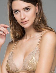 women'secret | Productos | Sujetador triangular con encaje y lentejuelas