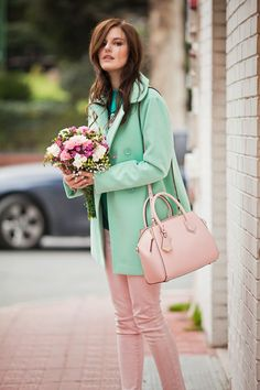 #pastel #mint #pink #flowers #sweet #fashionblogger #fashion #style #romwe #coat #jeans #bag