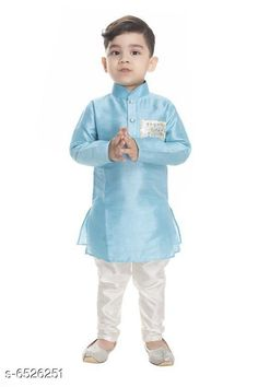 Checkout this latest Kurta Sets Product Name: *NEW GEN  BOYS FESTIVE & CASUAL KURTA* Top Fabric: Chanderi Silk Bottom Fabric: Chanderi Silk Sleeve Length: Long Sleeves Bottom Type: pyjamas Top Pattern: Solid Multipack: 1 Sizes:  0-1 Years, 1-2 Years (Chest Size: 11 in, Top Length Size: 19 in, Bottom Waist Size: 15 in, Bottom Length Size: 19 in)  2-3 Years (Chest Size: 11 in, Top Length Size: 20 in, Bottom Waist Size: 15 in, Bottom Length Size: 21 in)  3-4 Years (Chest Size: 12 in, Top Length Size: 21 in, Bottom Waist Size: 16 in, Bottom Length Size: 23 in)  4-5 Years (Chest Size: 12 in, Top Length Size: 20 in, Bottom Waist Size: 16 in, Bottom Length Size: 25 in)  Country of Origin: India Easy Returns Available In Case Of Any Issue   Catalog Rating: ★4 (15092)  Catalog Name: NEW GEN BOYS FESTIVE & CASUAL KURTA CatalogID_1039747 C58-SC1170 Code: 012-6526251-144