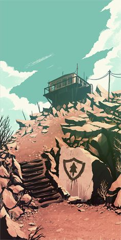 Concept illustration by Olly Moss for the game Firewatch.  One of many beautiful renderings: http://kotaku.com/firewatch-is-looking-very-very-pretty-1546752374