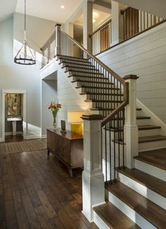 House Staircase, Staircase Remodel, Staircase Railings, Staircase Ideas, Spiral Staircase, Banisters, Staircase With Landing, Wrought Iron Staircase, Foyer Ideas