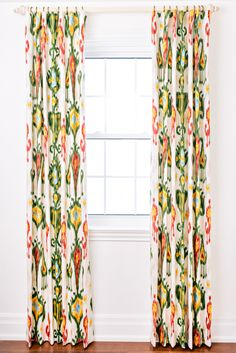 """Name: Montgomery     This playful ikat is a great statement for any room that needs a little wow factor.     Content  100% Cotton  Lined in 100% Cotton    Notes  54"""" wide  Pin hooks included"""