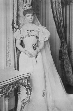 Princess Marie of Edinburgh, granddaughter of Queen Victoria, on her wedding day, 10 January Royal Wedding Gowns, Royal Weddings, Wedding Bride, Wedding Day, Wedding Dresses, Reine Victoria, Queen Victoria, Romanian Royal Family, Elisabeth I
