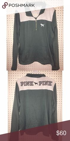 Victoria's Secret PINK 1/4 Zip In brand-new condition worn once, olive green, size large. Don't be shy to offer, I'm excepting reasonable ones! (: Will do cheaper on MERCARI PINK Victoria's Secret Tops Sweatshirts & Hoodies