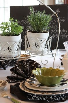 Black White and green table scape