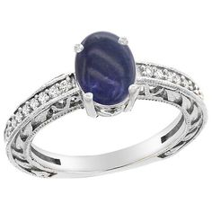 14K White Gold Natural Lapis Ring Oval 8x6 mm Diamond Accents, sizes 5 - 10