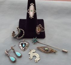 8 PC VIntage Southwestern Sterling Silver Turquoise MOP Abalone Jewelry Lot
