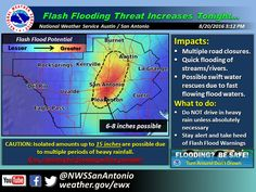 ⚠️ SIGNIFICANT FLOOD RISK IN CENTRAL/SOUTH-CENTRAL TEXAS TONIGHT⚠️  Confidence is increasing that a significant flood event may unfold tonight in the eastern Hill Country and Central Texas. Ingredients coming together may result in localized rain totals over 10 inches in parts of Central/South-Central Texas tonight - potentially impacting the Austin and San Antonio metros. The extremely heavy rains should be localized to a couple of counties, but the impacts may be