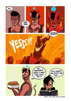 """027 - Baking Bad. """"Toby can be a little too excited sometimes…. """" / Written and illustrated by tohdaryl. #tohdaryl #tobiasthedemonandguy"""