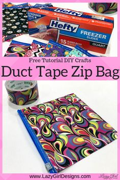 Sewing Bags Project Free tutorial for Duct tape zip bag made from a plastic zippered food storage bag. This easy no sew project is a great kids project and craft project. Use fun and funky Duct tape and heavy freezer bags for best results. Quick Crafts, Easy Crafts For Kids, Projects For Kids, Diy For Kids, Craft Projects, Sewing Projects, Craft Ideas, Crafts Cheap, Creative Crafts