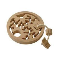 動物迷路(円形タイプ)(手探りで遊ぶ木のおもちゃ) Wooden toys maze labyrinth