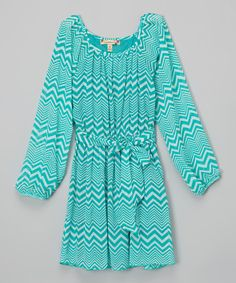 Another great find on #zulily! Teal & Ivory Chevron Dress by Speechless #zulilyfinds