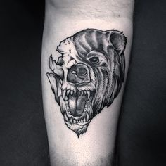 New school bear skull tattoo on the leg