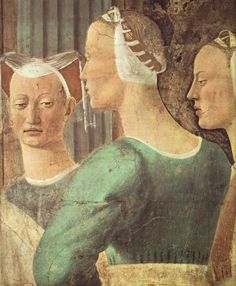 Piero della Francesca, Adoration of the Holy Wood and the Meeting of Solomon and the Queen of Sheba (detail), Arezzo frescos, Italy