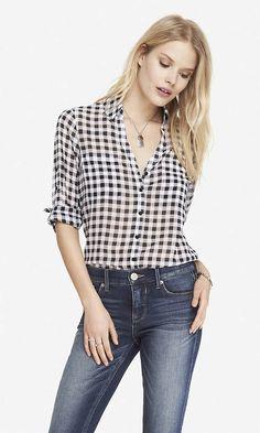 Gingham Check Convertible Sleeve Portofino Shirt | Express