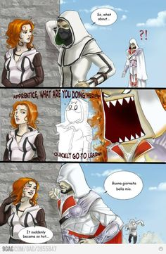 When Ezio see a girl, Ezio will get a girl no matter what. I wish I'm Ezio. Assassins Creed Comic, Skyrim, Asesins Creed, Assassin's Creed Brotherhood, Gaming Memes, Film Serie, Cultura Pop, Dragon Age, Funny Games