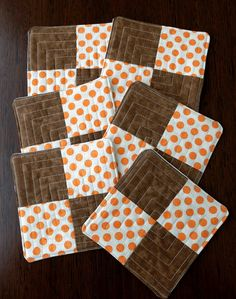 Quilted drink mats coasters Polka Dot orange and by StephsQuilts