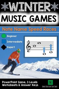 This animated winter music game is loads of fun! Your music students will love these fun music activities for improving music note reading skills.Treble clef and bass clef included! There are 3 levels- each level includes a student worksheet & answer key making this a perfect music lesson plan for a non-music sub! This is also a fun Christmas music education activity for your classroom. Great for upper elementary music, beginning band, choir and orchestra. #wintermusicgames…