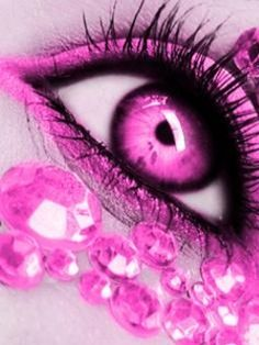 Pink Eye | Pink Eye Wallpaper 240x320 beautiful, diamonds, pink, pink, eye,