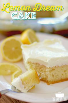 EASY LEMON DREAM CAKE (+Video) The Country Cook – Lemon Dream Cake starts with a boxed cake mix swirled with lemon pie filling. All topped with a creamy, lemony whipped topping! Easy and yummy! 13 Desserts, Lemon Desserts, Lemon Recipes, Delicious Desserts, Yummy Recipes, Recipies, Yummy Food, Healthy Recipes, Healthy Dinners