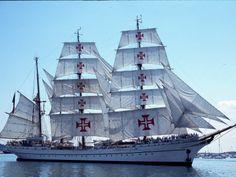 "Three-masted barque ""Sagres II"" from Portugal Portugal, Sail Away, Set Sail, Wooden Boats, Tall Ships, Water Crafts, Nautical Theme, Sailing Ships, Kayaking"