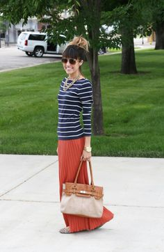 Navy stripe shirt, rust maxi skirt, gold chain necklaces