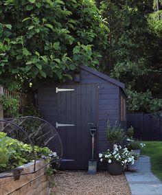 Garden Buildings, Garden Structures, Garden Paths, Outdoor Structures, Outdoor Spaces, Outdoor Living, Outdoor Decor, Black Shed, Black Garden