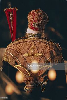 Pope Shenouda III from behind during the Coptic Christmas ceremony, celebrated in the Cathedral of St Mark in Cairo on the night of to January, in accordance with the Julian calendar. Pope Shenouda, Cairo, Egypt, Cathedral, Saints, Icons, Christian, Night, Image