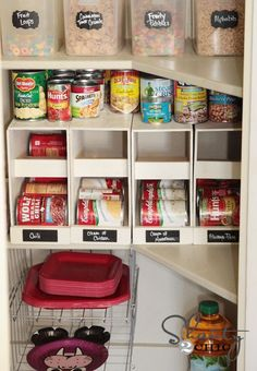 How to build canned food organizers for a pantry or food storage. (includes measurements and instructions)