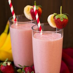 Strawberry Banana Oat Smoothie Recipe Beverages, Breakfast and Brunch with unsweetened almond milk, plain greek yogurt, frozen strawberries, bananas, quick oats, honey, vanilla extract