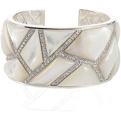 Kara Ross Wide Maze Mother of Pearl and Sapphire Cuff ($3,995) ❤ liked on Polyvore