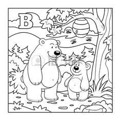 Kleurboek (beren in het bos), kleurloos letter B photo