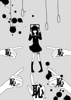 anime   art   asian   black   blood   creepy   digital   draw   girl   hands   japan   judged   judicata   mad   manga   monochrome   point   suicidal   suicide