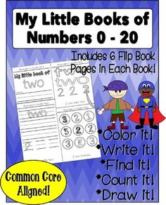 Help your budding mathematicians make sense of numbers (0  20) with this easy low-prep activity. This pack includes 21 mini flip books, one for each number from 0 - 20. Students color it, write it, find it, draw it, and count it. Each mini flip book contains six pages!