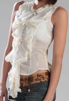Camicia Donna Smanicata Seta e Pizzo Bianco Panna TG. S