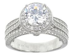 Bella Luce (R) 5.37ctw Round Rhodium Plated Sterling Silver Ring
