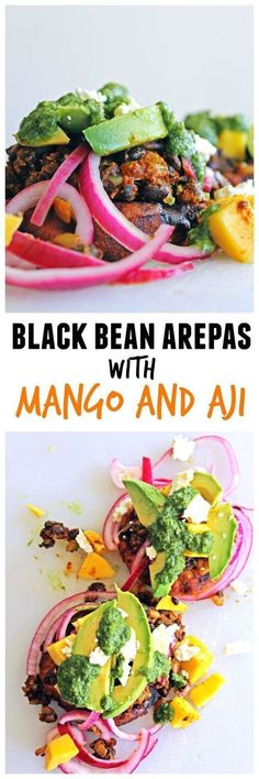 Delicious Colombian inspired black bean arepas with mango and aji recipe! Ricotta arepas are golden fried, then topped with spiced black beans and Colombian toppings. YUM! // Rhubarbarians