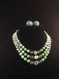 Three Strand Mint Green Shade of Glass Pearls and Art Glass 8129