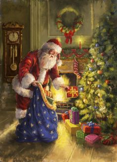 This counted cross stitch pattern of Santa placing Presents under a Christmas Tree was created from beautiful artwork by Addy. Old Christmas, Old Fashioned Christmas, Christmas Scenes, Victorian Christmas, Father Christmas, Vintage Christmas Cards, Christmas Pictures, Christmas Holidays, Merry Christmas Images