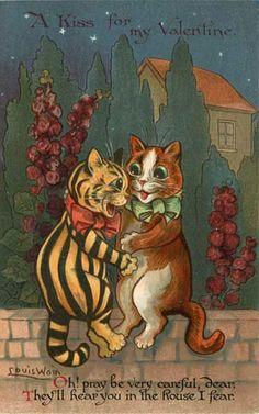 Louis Wain's Cats Valentine postcard, 1917