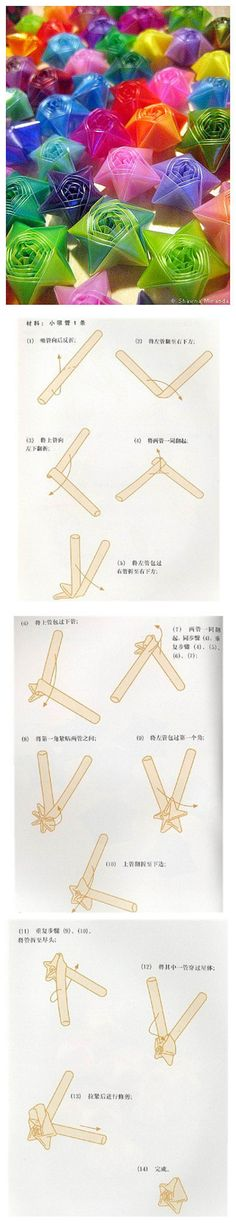 Manual DIY 1, first straw flattened, folded into a right angle, the center ...