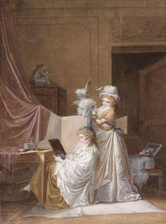 A milliner presents a new hat to a lady, with the hat-box on the bench behind them. Jean-Baptiste Mallet -  (1759 - 1835)  - La coiffure Edwardian Era, Georgian Era, Old Master, Painting & Drawing, Le Siecle, Jean Baptiste, 18th Century Clothing, Dressing Rooms, Dressing Table