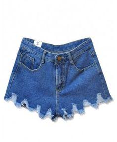 Wave Hem Ripped Denim Shorts