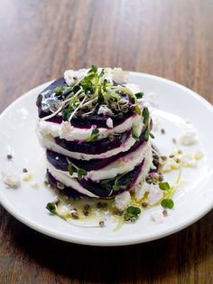 This recipe is made with beets and feta. You can use cow feta if you like but goat feta has a superior flavor and is better for this appetizer recipe. Anyone who likes beets will love this wonderful and easy recipe.