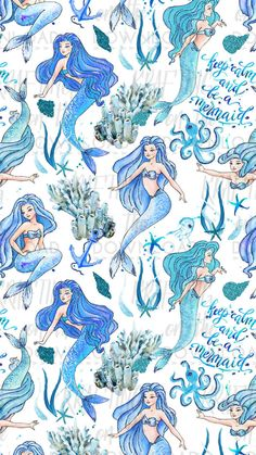 Mermaid Paper I adore this Definitely want for the guest room accent wall. Unicorns And Mermaids, Real Mermaids, Mermaids And Mermen, Fantasy Mermaids, Mermaid Drawings, Mermaid Tattoos, Mermaid Paintings, Mermaid Fairy, Mermaid Room