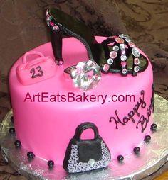 World Wide Wedding and Birthday cakes: Zebra design custom birthday cakes with edible shoes and handbags
