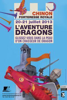 20-21 juillet 2013- L'Aventure Dragon à la Forteresse Royale de Chinon : Glissez-vous dans la peau d'un chasseur de dragon ! Des spectacles, des ateliers, des jeux médiévaux...Plus d'infos ici : http://www.forteressechinon.fr/actualite.php?id=54